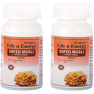 Life N Energy Ayurvedic Safed Museli Extract for healthy life 120 Capsule 500 mg pack of 2