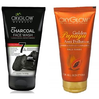 OxyGlow Charcoal Face Wash 100ml With OxyGlow Golden Papaya Anti Pollution Face Wash 100ml Combo