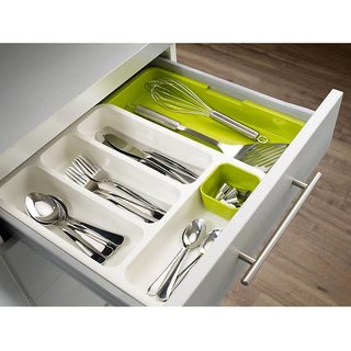 House of Quirk Empty Cutlery Box Drawer Case (Green White