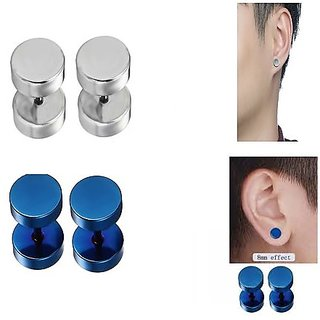 Men Style Round Barbell Dumbells Piercing Combo (2 Pairs) Silver and Blue Stainless Steel Round Stud Earring Men and Wom