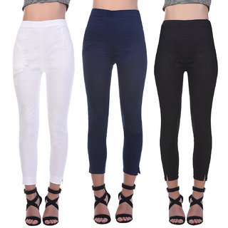 Flyra Women Multicolor Plain Rayon Casual Pants (Pack of 3)