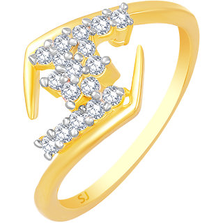 Sukai Jewels Royal Look Gold Plated Alloy & Brass Cubic Zirconia Finger Ring for Women & Girls [SFR1010G]