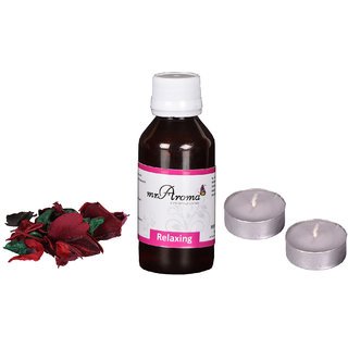 Mr. Aroma  Relaxing Essential Oil For Aroma Diffuser With 2 Tealight Candle  Potpourri Flowers, 100  ML