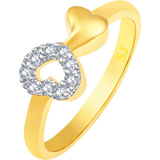 Sukai Jewels Attractive Heat Gold Plated Alloy & Brass Cubic Zirconia Finger Ring for Women & Girls [SFR1011G]