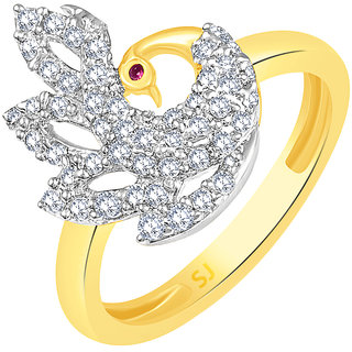 Sukai Jewels Mayur Pink Ruby Gold Plated Alloy & Brass Cubic Zirconia Finger Ring for Women & Girls [SFR963G]