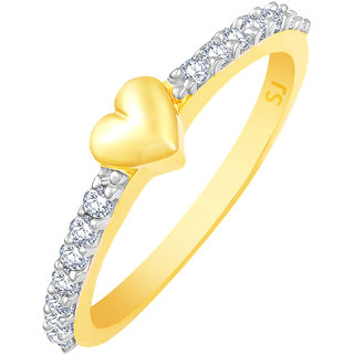 Sukai Jewels Loveable Heart Gold Plated Alloy & Brass Cubic Zirconia Finger Ring for Women & Girls [SFR968G]