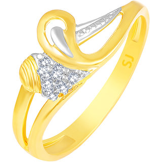 Sukai Jewels Elegant Heart Gold Plated Alloy & Brass Cubic Zirconia Finger Ring for Women & Girls [SFR990G]