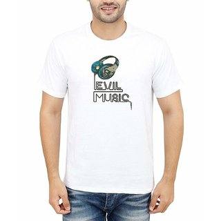 DOUBLE F ROUND NECK HALF SLEEVE WHITE COLOR EVIL MUSIC PRINTED T-SHIRTS
