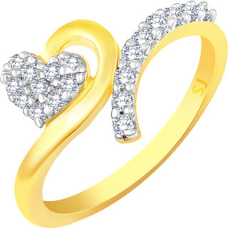 Sukai Jewels Gift Heart Gold Plated Alloy & Brass Cubic Zirconia Finger Ring for Women & Girls [SFR991G]