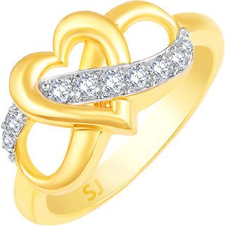Sukai Jewels Bonded Heart Gold Plated Alloy & Brass Cubic Zirconia Finger Ring for Women & Girls [SFR992G]