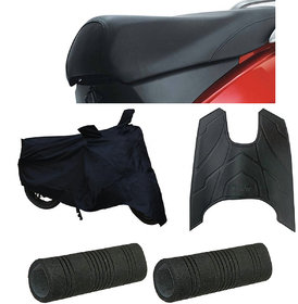 Spidy Moto Waterproof Scooty Body Cover with Double Mirror Pocket,Handle Grip,Seat Cover,Foot Mat For TVS Jupiter