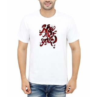 DOUBLE F ROUND NECK HALF SLEEVE WHITE COLOR HOW ARE YOU PRINTED T-SHIRTS