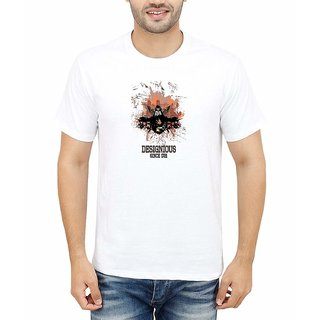 DOUBLE F ROUND NECK HALF SLEEVE WHITE COLOR DESIGNIOUS SINCE 1721 PRINTED T-SHIRTS