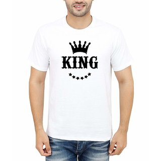 DOUBLE F ROUND NECK HALF SLEEVE WHITE COLOR KING PRINTED T-SHIRTS