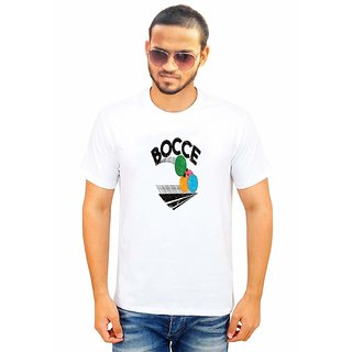 DOUBLE F ROUND NECK HALF SLEEVE WHITE COLOR BOCCE PRINTED T-SHIRTS