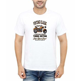 DOUBLE F ROUND NECK HALF SLEEVE WHITE COLOR TURBO EDITION PRINTED T-SHIRTS