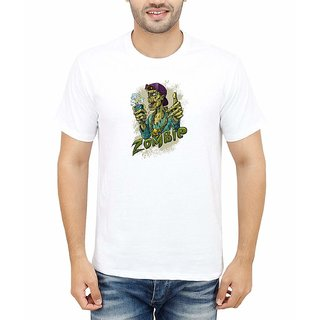 DOUBLE F ROUND NECK HALF SLEEVE WHITE COLOR ZOMBIE PRINTED T-SHIRTS