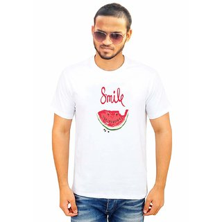 DOUBLE F ROUND NECK HALF SLEEVE WHITE COLOR SMILE PRINTED T-SHIRTS