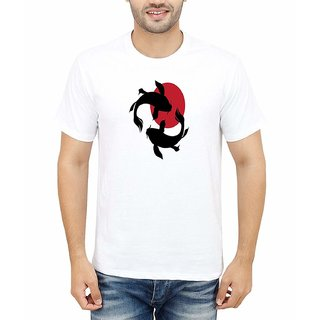 DOUBLE F ROUND NECK HALF SLEEVE WHITE COLOR BLACK FISH PRINTED T-SHIRTS