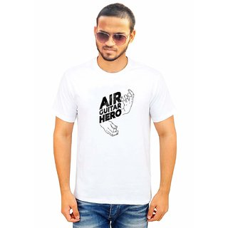 DOUBLE F ROUND NECK HALF SLEEVE WHITE COLOR AIR GITAR HERO PRINTED T-SHIRTS