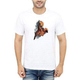 DOUBLE F ROUND NECK HALF SLEEVE WHITE COLOR DANGOUR FIRE PRINTED T-SHIRTS