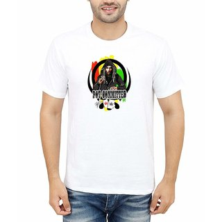 DOUBLE F ROUND NECK HALF SLEEVE WHITE COLOR POT COMMITTED PRINTED T-SHIRTS