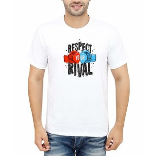 DOUBLE F ROUND NECK HALF SLEEVE WHITE COLOR RESPECT YOUR RIVAL COMMITTED PRINTED T-SHIRTS