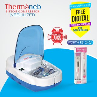 Thermocare Piston Compressure Nebulizer with Complete Kit Child and Adult Mask +Digital Thermometer