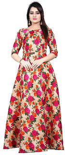 Meia Women's Pink Banglori Satin Printed Semi-Stitched Gown (G0109-Gulabo Gown)