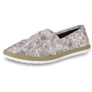 DRUNKEN Women's Floral Synthetic Grey Casual Slip On Shoes, Outdoors Shoes, Riding Shoes, Sneakers