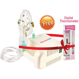 Thermocare Portable Nebulizer with complete kit Child and Adult mask +Digital Thermometer - thermometerforflu