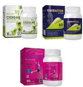 WomensMulti Womens Mutivitamin, Cissgar Bones + Joint Support  KneeBetter Joint Support Combo for Women Health