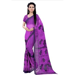 Florence purple coloured chiffon printed  saree with unstitched blouse