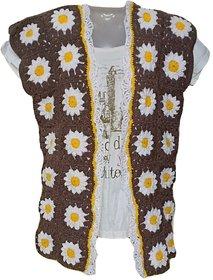 Brown floral woolen Cardigan