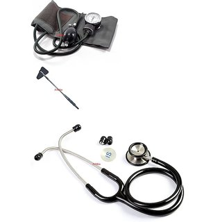 Aabha Medical student aneroid sphygmomanometer Dial Blood Pressure Monitor With stethoscope / Knee Hammer (Combo Offer )