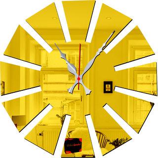 Bikri Kendra - Quartz 63 Golden 30 cm - 3D acrylic mirror wall clock