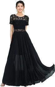 Aashish Garments - Black Mesh Style Women Crepe Maxi Dress