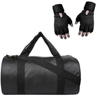 Snipper  Combo of Leatherite Gym Bag (Black) And Gloves (Black) , Gym Fitness And Gym kit .