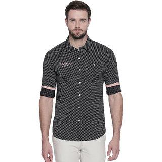Jeaneration Black Cotton Slim Fit Shirt for Men