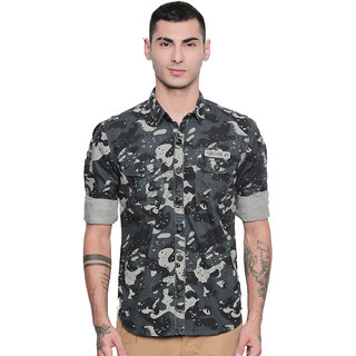 Jeaneration Black Cotton Camouflage Printed Shirt for Men