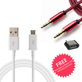 Fast Charging USB Data Cable (1.5 Meter) for all Android Device with free AUX Cable + OTG