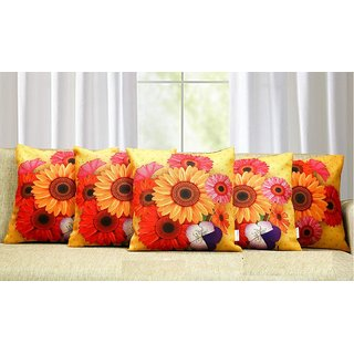 Veer Fab 3D Digital Canvas Jute Cushion Cover Set of 5 16x16 inches / 40x40 cms -Multi