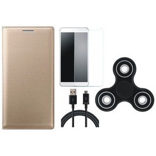 K8 Note Flip Cover with Spinner, Tempered Glass and USB Cable by Vivacious ( Gold )