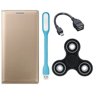 K8 Note Premium Leather Cover with Spinner, USB LED Light and OTG Cable (Gold ) by Vivacious