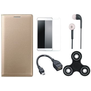 K8 Note Premium Leather Cover with Spinner, Tempered Glass, Earphones and OTG Cable (Gold ) by Vivacious