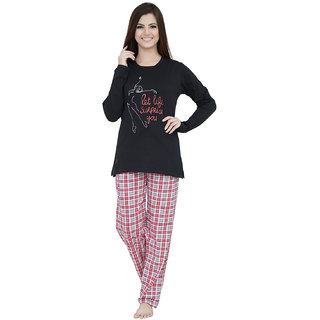 09eae16f86 Lenissa Women's Night suits - Night Dress for women - Loungewear - Printed  - Full Sleev - Pyjama set - 100% Cotton - Pyjama & T shirt set - Nightwear  for ...