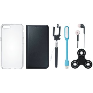 K8 Note Stylish Leather Cover with Spinner, Silicon Back Cover, Selfie Stick, Earphones and USB LED Light by Vivacious ( Black )