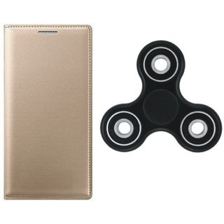 K8 Note Stylish Leather Cover with Spinner, Free Silicon Back Cover by Vivacious ( Gold )