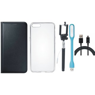 K8 Note Stylish Leather Cover with Silicon Back Cover, Selfie Stick, USB LED Light and USB Cable by Vivacious ( Black )