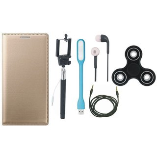 K8 Note Stylish Leather Cover with Spinner, Selfie Stick, Earphones, USB LED Light and AUX Cable by Vivacious ( Gold )